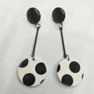 5/$25 VTG Art Deco Polka Dot Dangle Earrings